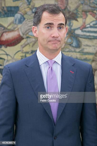 King Felipe VI of Spain Meets Guy Ryder at Zarzuela Palace on July 24 2014 in Madrid Spain