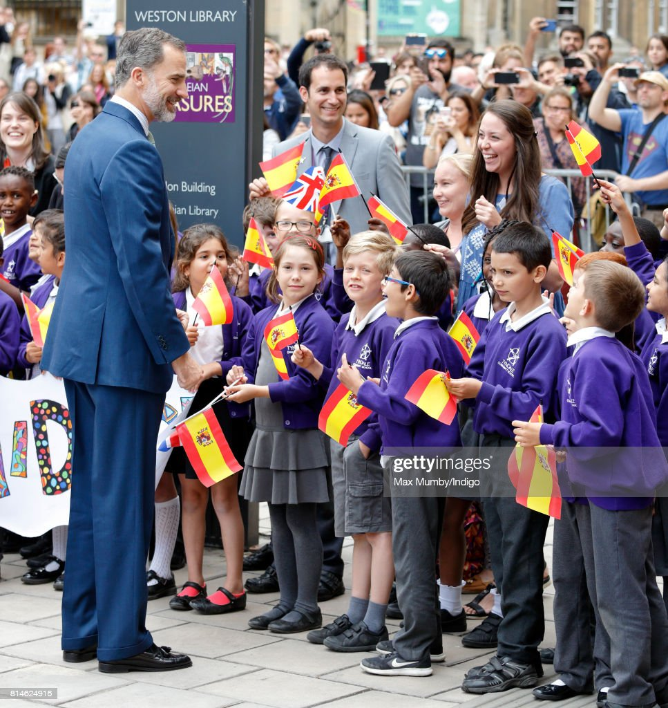 King Felipe VI of Spain meets school children as he visits the Weston Library at Oxford University on the final day of the Spanish State Visit to the United Kingdom on July 14, 2017 in Oxford, England. This is the first State Visit by the current King Felipe and Queen Letizia, the last being in 1986 with King Juan Carlos and Queen Sofia.