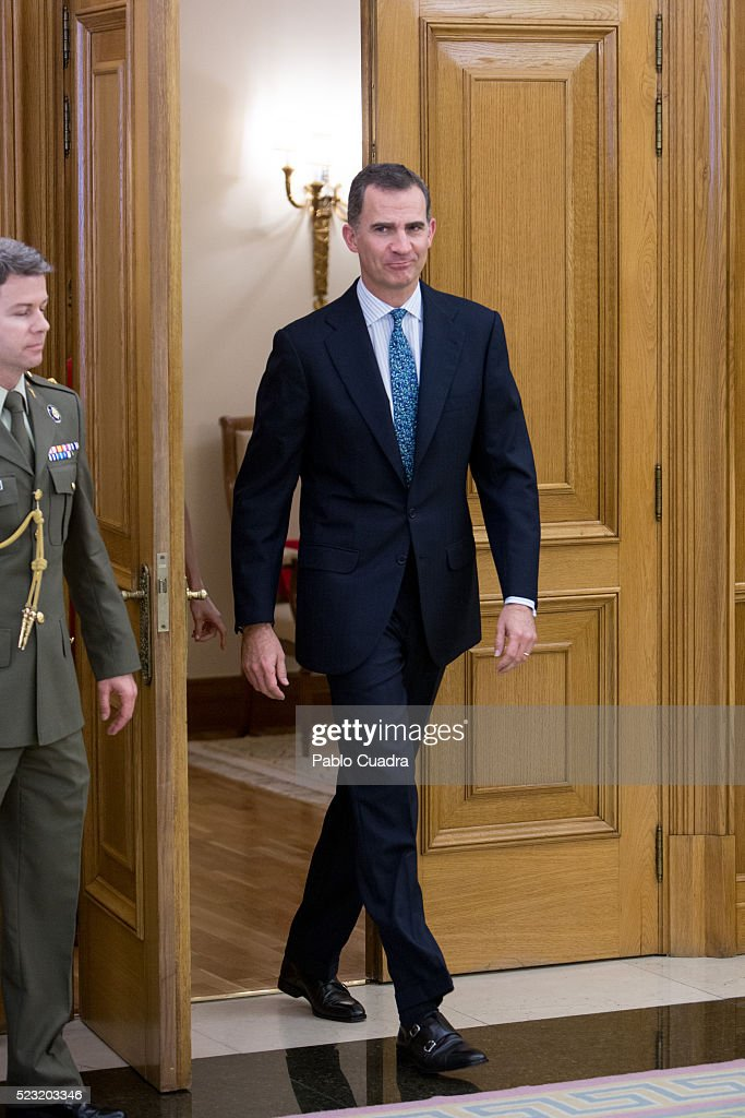 King Felipe VI of Spain meets Spanish figure skater Javier Fernandez at Zarzuela Palace on April 22, 2016 in Madrid, Spain.