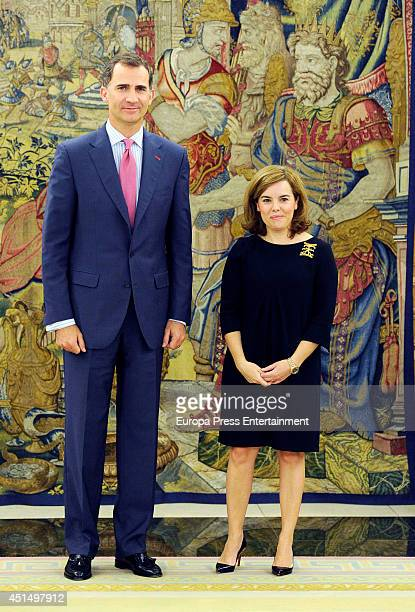 King Felipe VI of Spain meets Vice president of Spanish Government Soraya Saenz de Santamaria at Zarzuela Palace on June 27 2014 in Madrid Spain