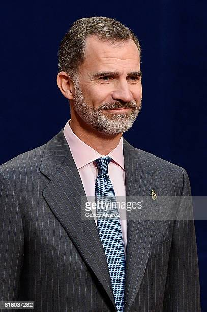 King Felipe VI of Spain of Spain attends several audiences during the Princess of Asturias awards 2016 at the Reconquista Hotel on October 21 2016 in...