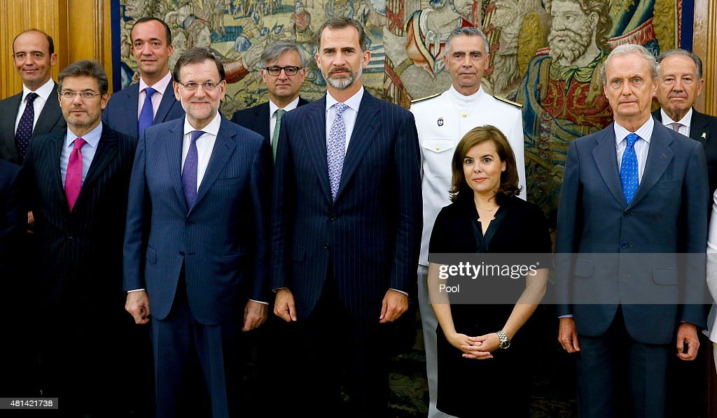 King Felipe VI of Spain poses with the Prime Minister, Mariano Rajoy, the vice president, Soraya Saenz de Santamaria, the Minister of Justice, Rafael Catala and Spanish Minister of Defence, Pedro Morenés during a meeting of the National Security Council at the Zarzuela Palace on July 20, 2015 in Madrid, Spain.