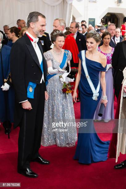 King Felipe VI of Spain Princess Anne Princess Royal and Queen Letizia of Spain attend the Lord Mayor's Banquet at the Guildhall during a State visit...
