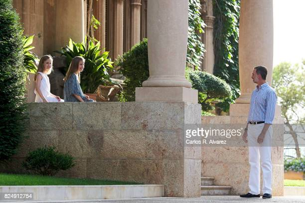 King Felipe VI of Spain Princess Leonor of Spain and Princess Sofia of Spain poses for the photographers during the summer photocall at the Marivent...