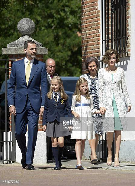 King Felipe VI of Spain Princess Leonor of Spain Princess Sofia of Spain and Queen Letizia of Spain arrive at the Asuncion de Nuestra Senora Church...