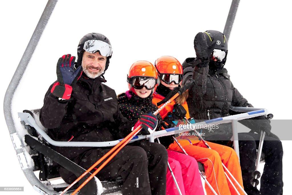 King Felipe VI of Spain, Princess Leonor of Spain, Princess Sofia of Spain and Queen Letizia of Spain enjoy a short private skiing break on February 5, 2017 in Jaca, Spain.