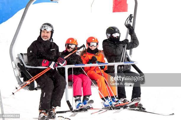 King Felipe VI of Spain Princess Leonor of Spain Princess Sofia of Spain and Queen Letizia of Spain enjoy a short private skiing break on February 5...