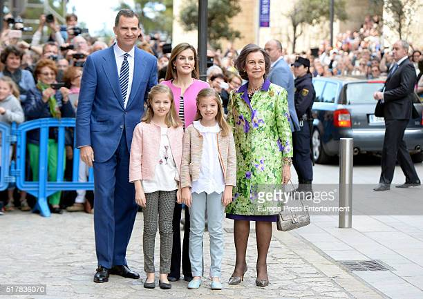 King Felipe VI of Spain Princess Leonor of Spain Queen Letizia of Spain Princess Sofia of Spain and Queen Sofia attend the Easter Mass at the...