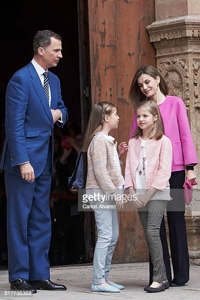 King Felipe VI of Spain Princess Sofia of Spain Princess Leonor of Spain and Queen Letizia of Spain attend the Easter Mass at the Cathedral of Palma...