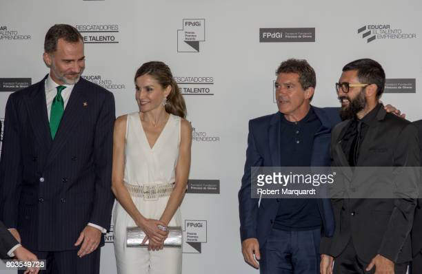 King Felipe VI of Spain Queen Letizia of Spain and Antonio Banderas attend the 'Princesa de Girona' foundation awards held at the Palacio de...
