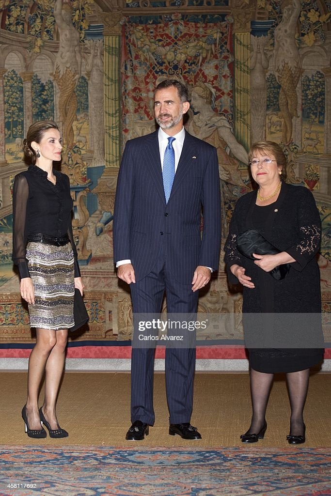 King <a gi-track='captionPersonalityLinkClicked' href=/galleries/search?phrase=Felipe+VI+of+Spain&family=editorial&specificpeople=4881076 ng-click='$event.stopPropagation()'>Felipe VI of Spain</a> (C), Queen <a gi-track='captionPersonalityLinkClicked' href=/galleries/search?phrase=Letizia+of+Spain&family=editorial&specificpeople=158373 ng-click='$event.stopPropagation()'>Letizia of Spain</a> (L) and Chilean President <a gi-track='captionPersonalityLinkClicked' href=/galleries/search?phrase=Michelle+Bachelet&family=editorial&specificpeople=547978 ng-click='$event.stopPropagation()'>Michelle Bachelet</a> (R) host a reception at the El Pardo Palace on October 30, 2014 in Madrid, Spain.