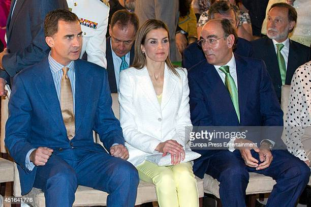 King Felipe VI of Spain Queen Letizia of Spain and Ignacio Sanchez Galan attend the delivery of Iberdrola Foundation's scholarships on July 3 2014 in...
