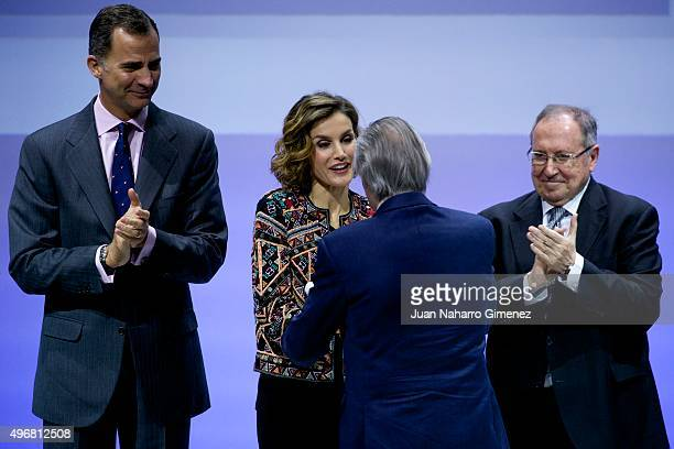 King Felipe VI of Spain Queen Letizia of Spain and Josep Pique attend a meeting with ambassadors of the Spanish Brand at Auditorio Ciudad BBVA on...