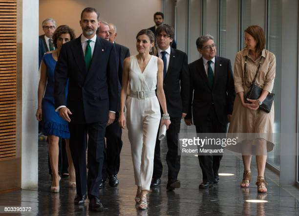 King Felipe VI of Spain Queen Letizia of Spain and President of Catalunya Carles Puigdemont attend the 'Princesa de Girona' foundation awards held at...