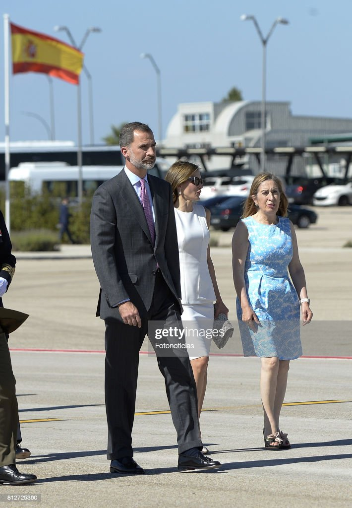King Felipe VI of Spain, Queen Letizia of Spain and President of the Congress of Deputies Ana Pastor depart from Barajas Airport for an official visit to United Kingdom on July 11, 2017 in Madrid, Spain.