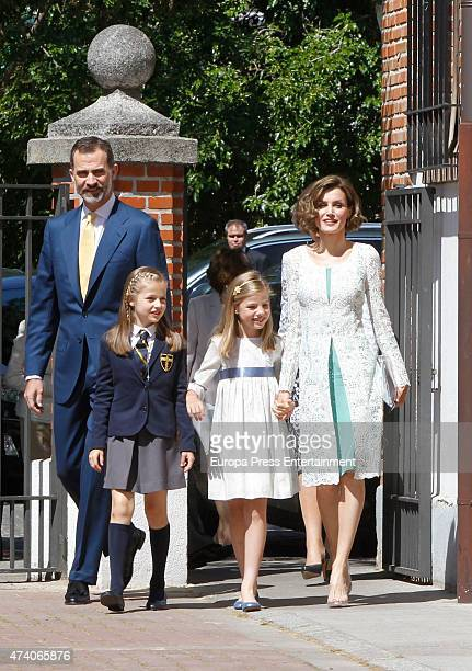 King Felipe VI of Spain Queen Letizia of Spain and Princess Sofia of Spain attend the First Communion of Princess Leonor of Spain on May 20 2015 in...