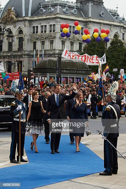 King Felipe VI of Spain Queen Letizia of Spain and Queen Sofia arrive tothe Campoamor Theater for the Princess of Asturias Award 2015 ceremony on...