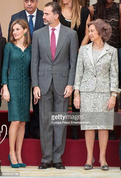 King Felipe VI of Spain Queen Letizia of Spain and Queen Sofia attend the National Sports Awards ceremony at Zarzuela Palace on December 4 2014 in...