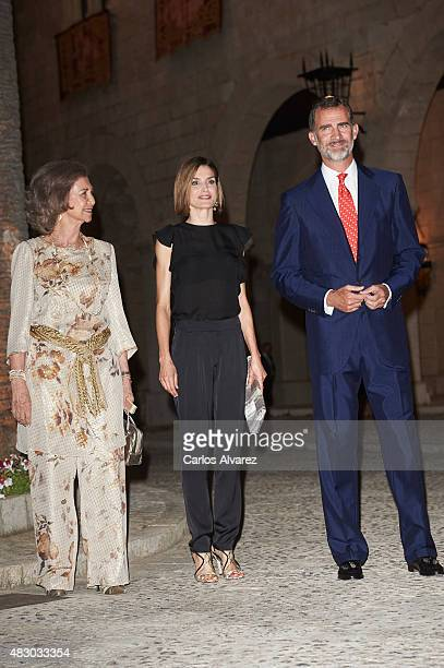 King Felipe VI of Spain Queen Letizia of Spain and Queen Sofia attend a official reception at the Almudaina Palace on August 5 2015 in Palma de...
