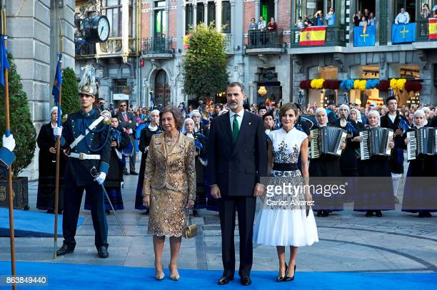 King Felipe VI of Spain Queen Letizia of Spain and Queen Sofia attend the Princesa de Asturias Awards 2017 ceremony at the Campoamor Theater on...