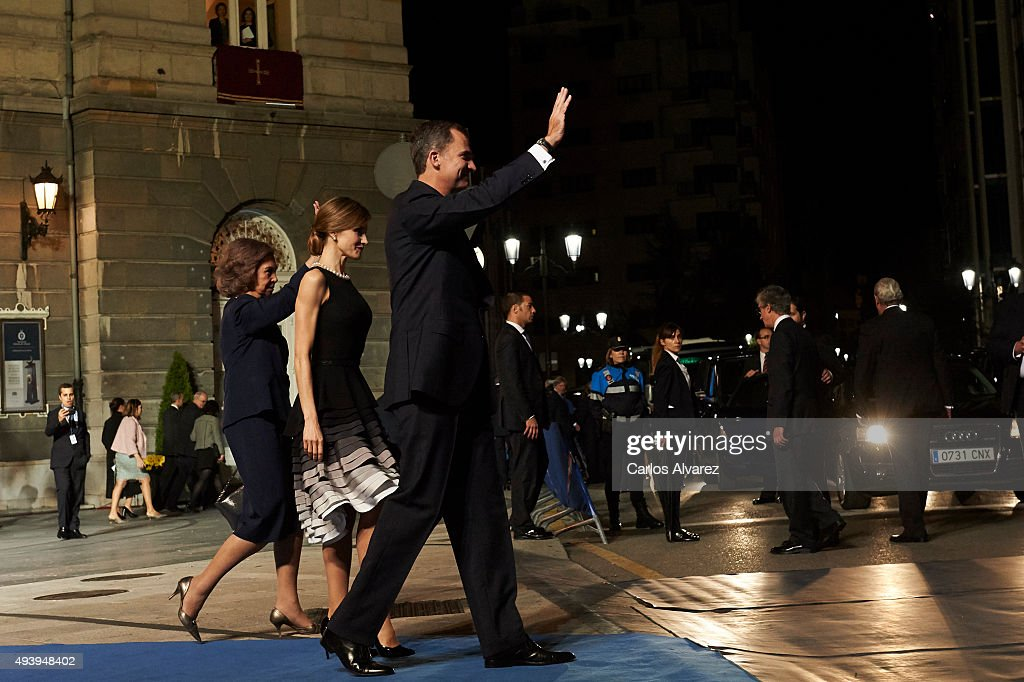 King Felipe VI of Spain (R), Queen Letizia of Spain (C) and Queen Sofia (L) leave the Campoamor Theater after the Princess of Asturias Award 2015 ceremony on October 23, 2015 in Oviedo, Spain.