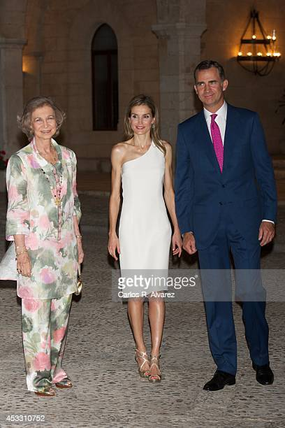 King Felipe VI of Spain Queen Letizia of Spain and Queen Sofia of Spain attend a official reception at the Almudaina Palace on August 7 2014 in Palma...