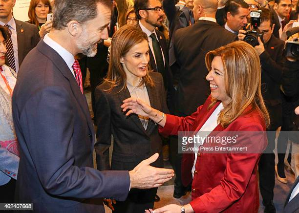 King Felipe VI of Spain Queen Letizia of Spain and Susana Diaz attend 'FITUR' International Tourism Fair opening at Ifema on January 28 2015 in...