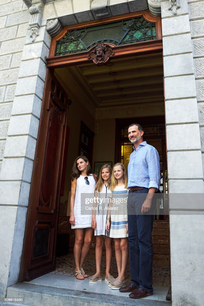 King Felipe VI of Spain, Queen Letizia of Spain and their daughters Princess Leonor of Spain (R) and Princess Sofia of Spain (L) visit the Can Prunera Museum on August 6, 2017 in Palma de Mallorca, Spain.