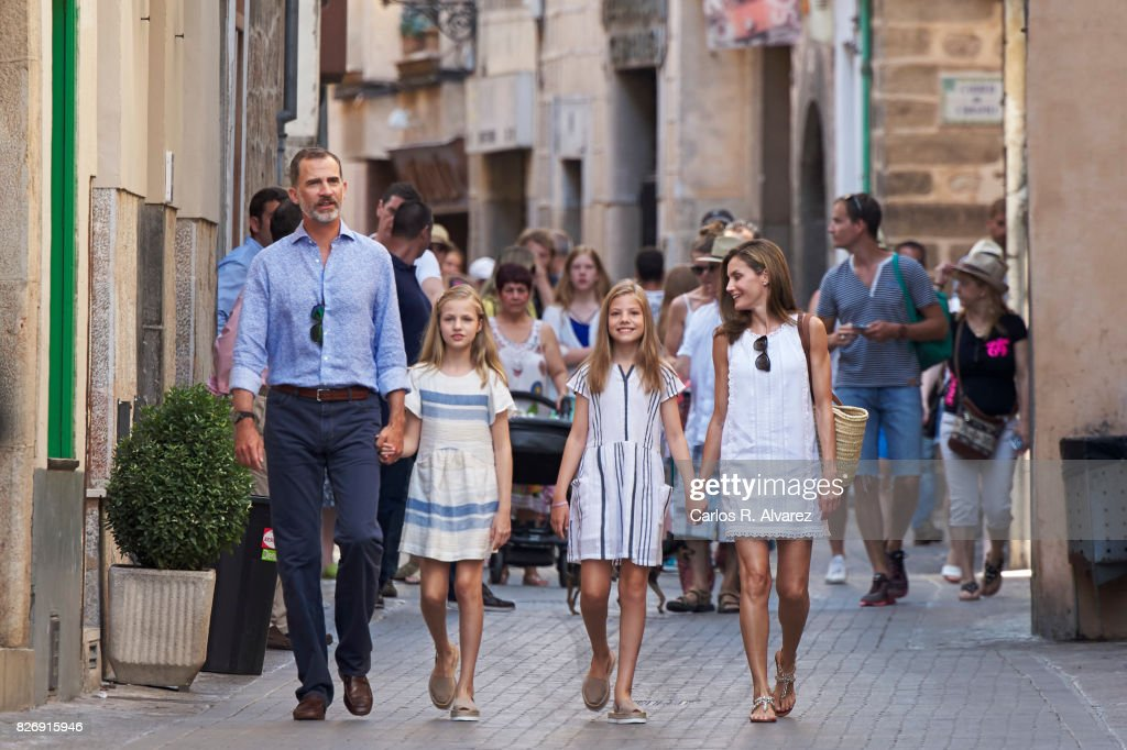 King Felipe VI of Spain, Queen Letizia of Spain and their daughters Princess Leonor of Spain (L) and Princess Sofia of Spain (R) visit the Can Prunera Museum on August 6, 2017 in Palma de Mallorca, Spain.
