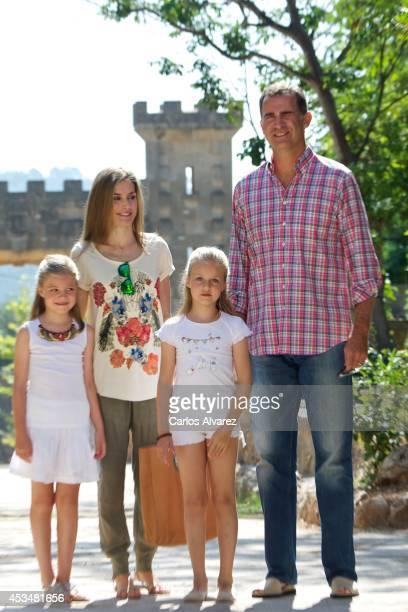 King Felipe VI of Spain Queen Letizia of Spain and their daugthers Princess Leonor of Spain and Princess Sofia of Spain visit 'Sierra de Tramuntana'...