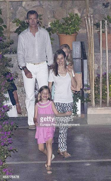 King Felipe VI of Spain Queen Letizia of Spain and their daugthers Princess Leonor of Spain and Princess Sofia of Spain are seen on August 5 2014 in...