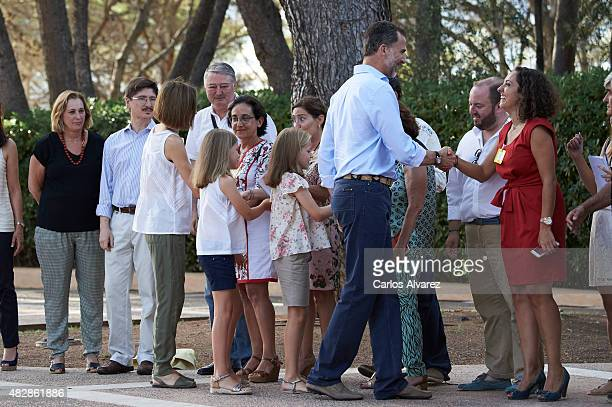 King Felipe VI of Spain Queen Letizia of Spain and their daugthers Princess Leonor of Spain and Princess Sofia of Spain shake hands with media press...