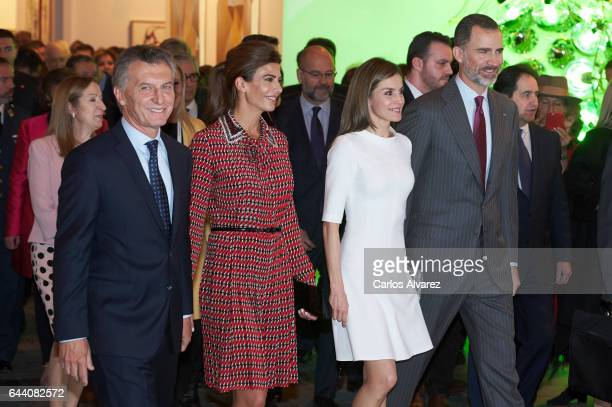 King Felipe VI of Spain Queen Letizia of Spain Argentina's President Mauricio Macri and wife Juliana Awada attend the opening of ARCO 2017 at Ifema...