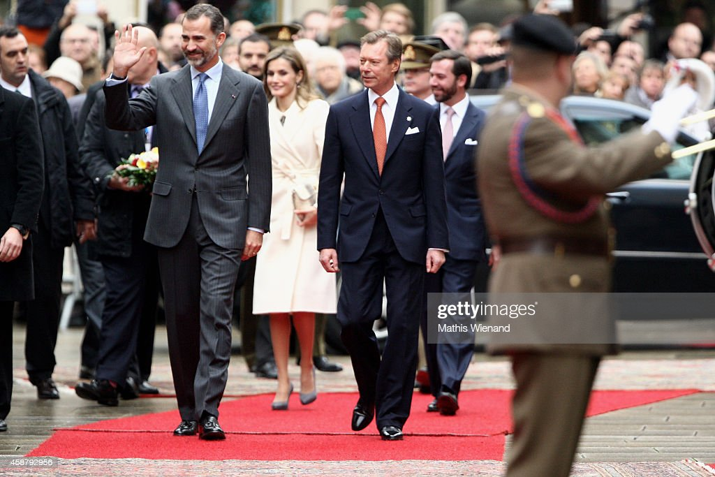 King Felipe VI of Spain, Queen Letizia Of Spain (background), Grand Duke Henri of Luxembourg and Prince Guillaume, Hereditary Grand Duke of Luxembourg attend a one-day official visit by the Spanish Royals on November 11, 2014 in Luxembourg, Luxembourg.