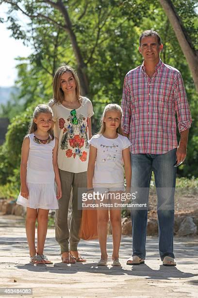 King Felipe VI of Spain Queen Letizia of Spain Princess Leonor and Princess Sofia visit Tramuntana Mountains on August 11 2014 in Palma de Mallorca...