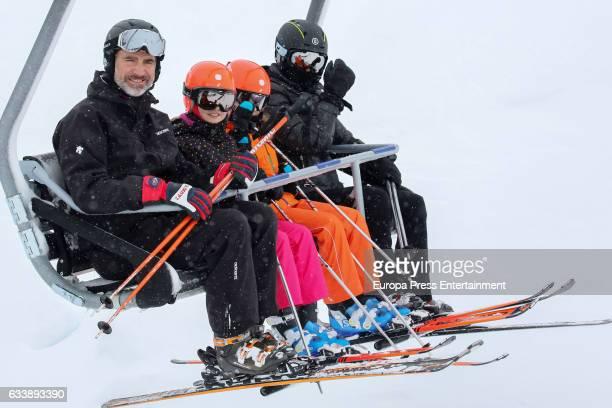 King Felipe VI of Spain Queen Letizia of Spain Princess Leonor and Princess Sofia go skiing on February 5 2017 in Huesca Spain