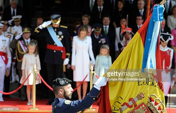 King Felipe VI of Spain Queen Letizia of Spain Princess Leonor of Spain and Princess Sofia of Spain leave Spanish Parliament on June 19 2014 in...