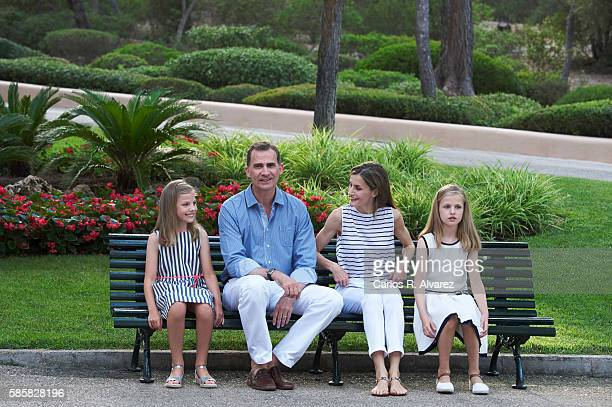 King Felipe VI of Spain Queen Letizia of Spain Princess Leonor of Spain and Princess Sofia of Spain poses for the photographers at the Marivent...