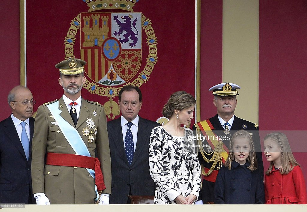 King Felipe VI of Spain, Queen Letizia of Spain, Princess Leonor of Spain and Princess Sofia of Spain attend the National Day military parade on October 12, 2016 in Madrid, Spain