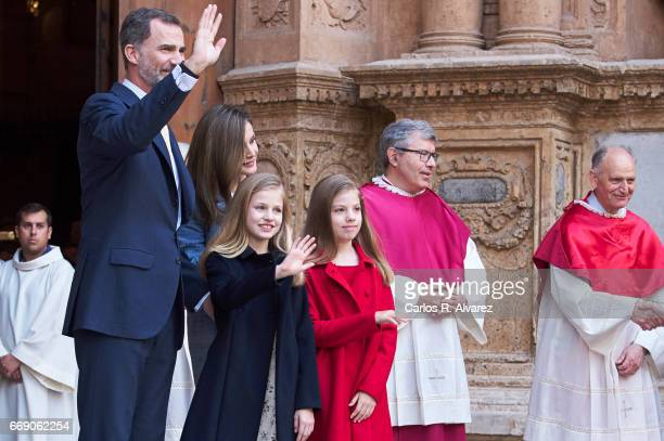 King Felipe VI of Spain Queen Letizia of Spain Princess Leonor of Spain and Princess Sofia of Spain attend the Easter Mass at the Cathedral of Palma...