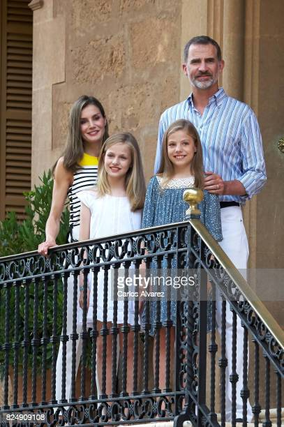 King Felipe VI of Spain Queen Letizia of Spain Princess Leonor of Spain and Princess Sofia of Spain poses for the photographers during the summer...