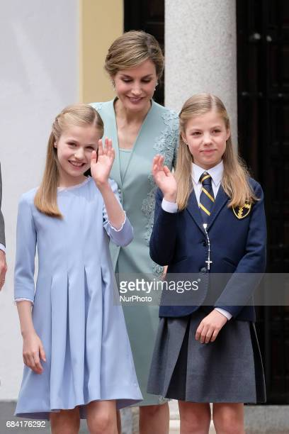 King Felipe VI of Spain Queen Letizia of Spain Princess Sofia of Spain and Princess Leonor of Spain pose for the photographers before the First...
