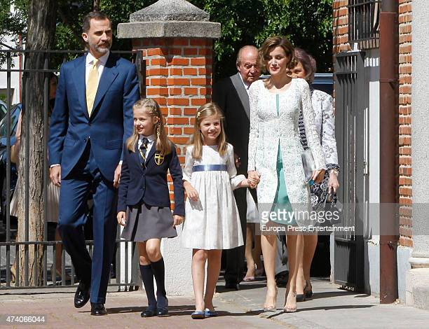 King Felipe VI of Spain Queen Letizia of Spain Queen Sofia and Princess Sofia of Spain attend the First Communion of Princess Leonor of Spain on May...