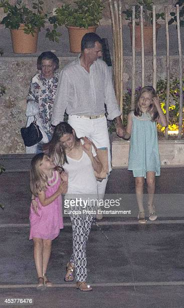 King Felipe VI of Spain Queen Letizia of Spain their daugthers Princess Leonor of Spain and Princess Sofia of Spain and Princess Irene of Greece are...