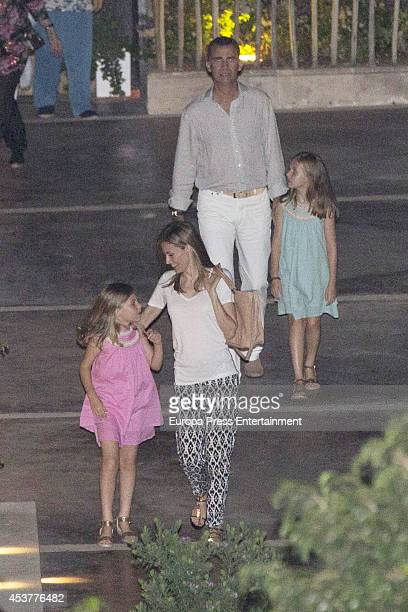 King Felipe VI of Spain Queen Letizia of Spain their daugthers Princess Leonor of Spain and Princess Sofia of Spain are seen on August 5 2014 in...