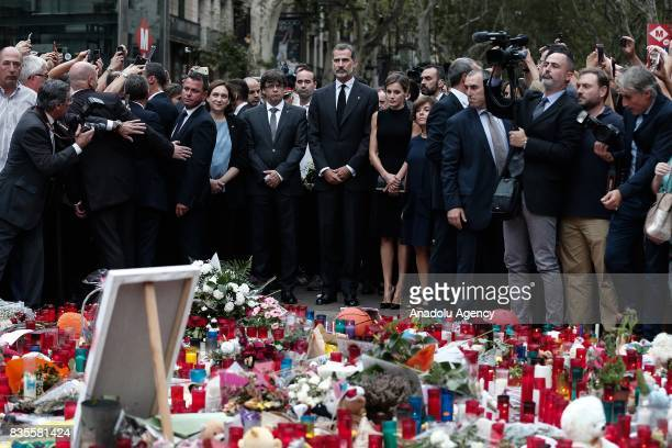 King Felipe VI of Spain Queen Letizia the mayor of Barcelona Ada Colau and President of the Catalan government Carles Puigdemont attend a memorial at...
