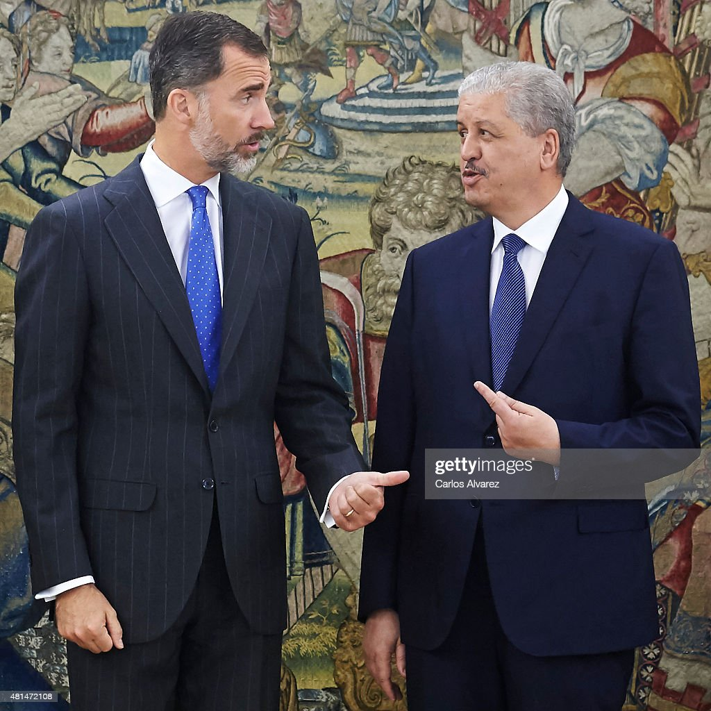 King Felipe VI of Spain (L) receives Algerian Prime Minister <a gi-track='captionPersonalityLinkClicked' href=/galleries/search?phrase=Abdelmalek+Sellal&family=editorial&specificpeople=3196882 ng-click='$event.stopPropagation()'>Abdelmalek Sellal</a> (R) at the Zarzuela Palace on July 21, 2015 in Madrid, Spain.