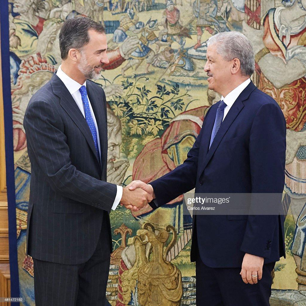 King Felipe VI of Spain (L) receives Algerian Prime Minister Abdelmalek Sellal (R) at the Zarzuela Palace on July 21, 2015 in Madrid, Spain.