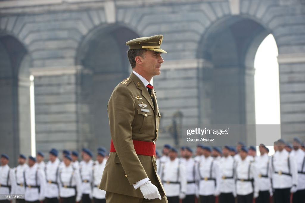 King Felipe VI of Spain receives Armed Forces and Guardia Civil at the Royal Palace on June 25, 2014 in Madrid, Spain.