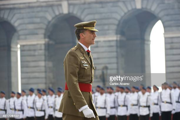 King Felipe VI of Spain receives Armed Forces and Guardia Civil at the Royal Palace on June 25 2014 in Madrid Spain